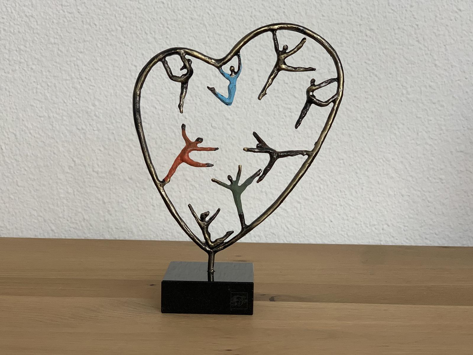 Mini urn hart asbeeldje hartenkinderen- brons