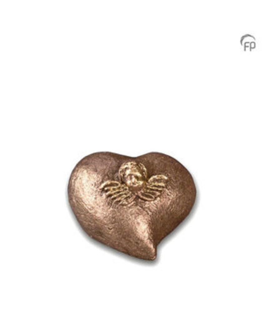 Mini urn engel in hart - keramiek