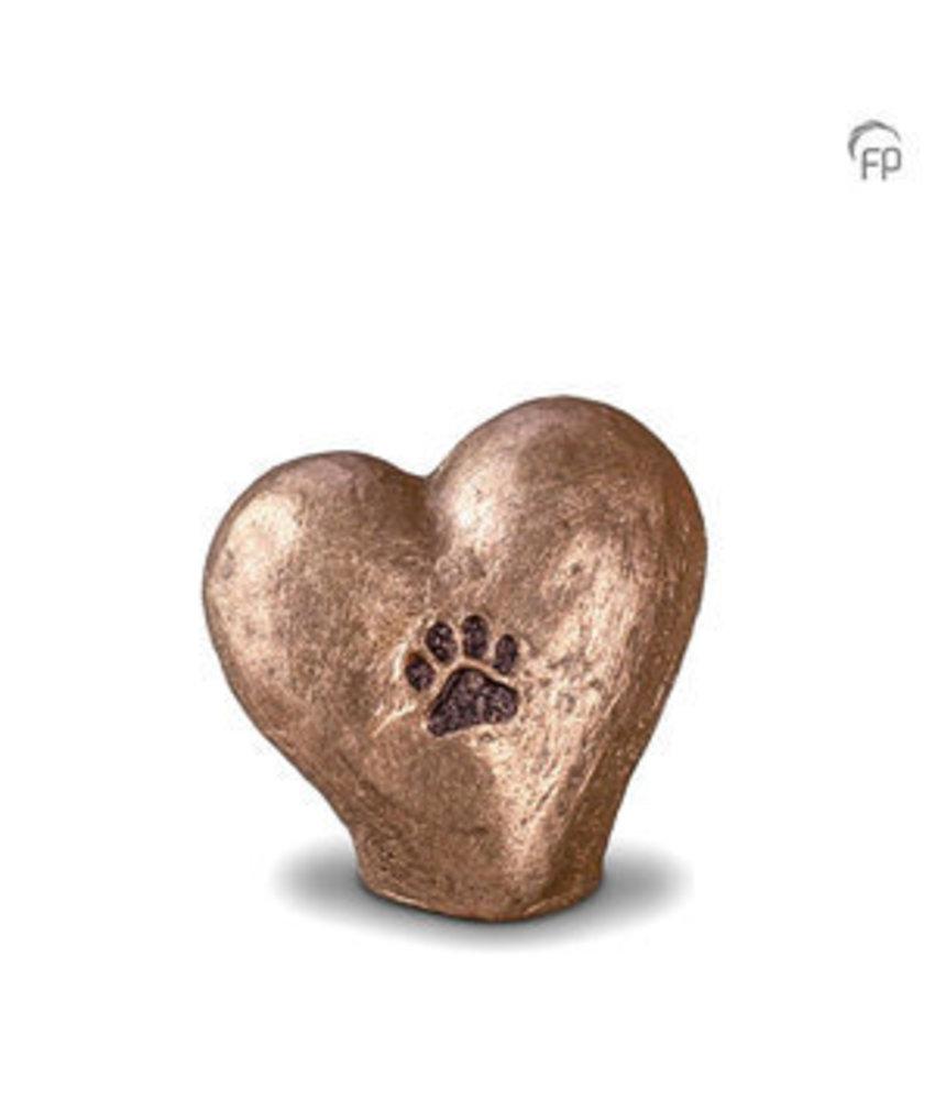 Mini dierenurn pootafdruk in hart staand - keramiek