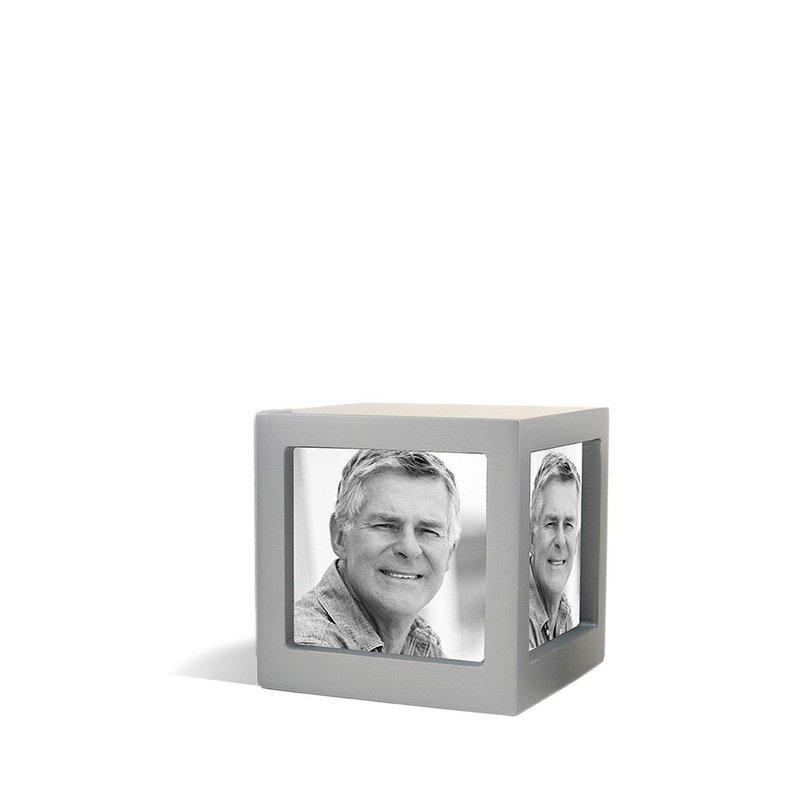 Foto kubus urn zilver M - hout
