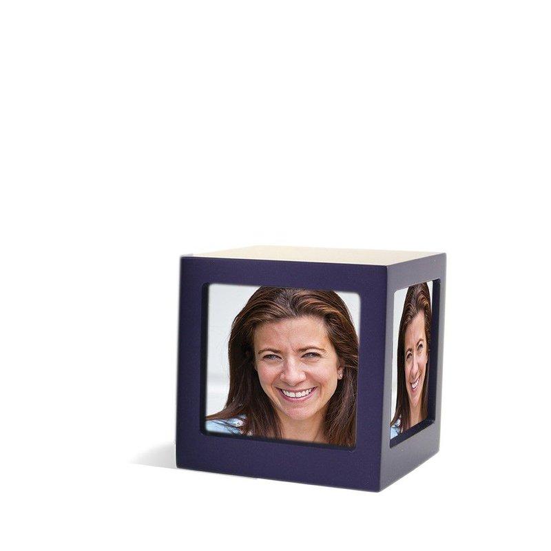 Foto kubus urn violet L - hout