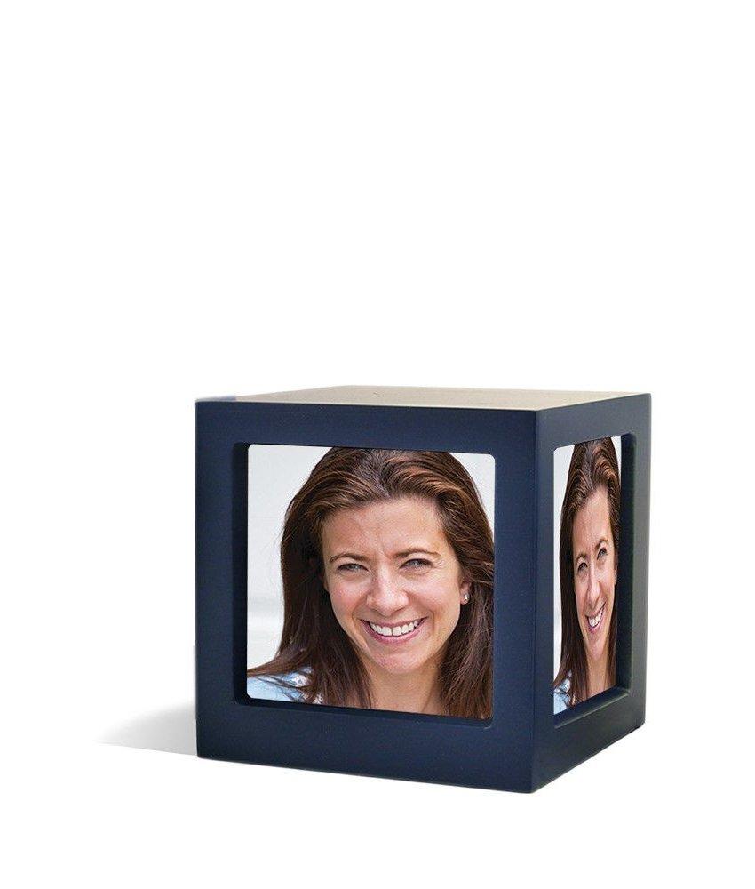 Foto kubus urn blauw L - hout