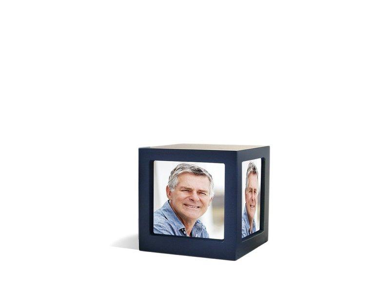 Foto kubus urn blauw M - hout