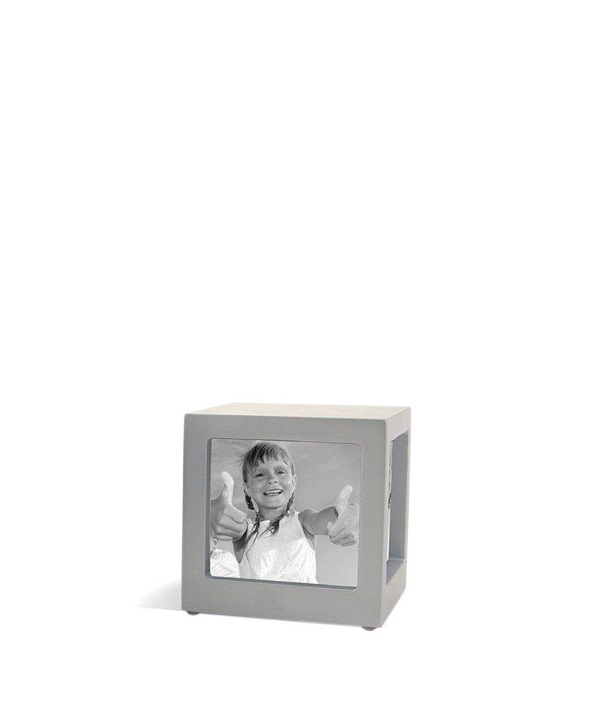 Foto kubus urn zilver S - hout