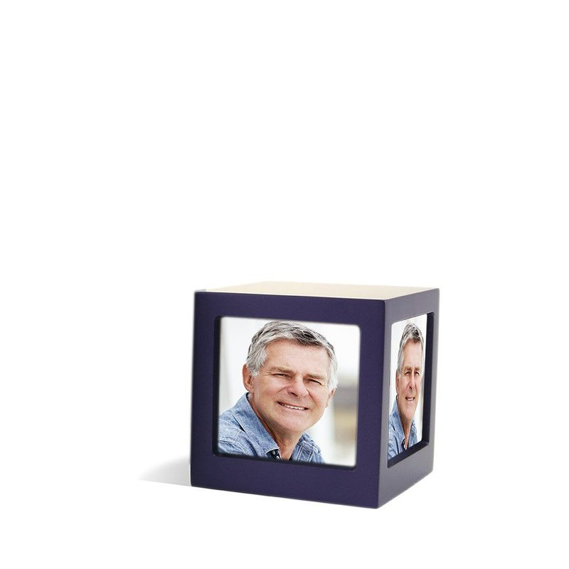 Foto kubus urn violet M - hout