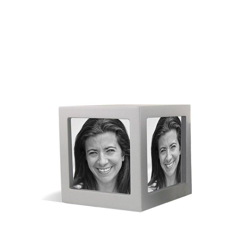 Foto kubus urn zilver L - hout