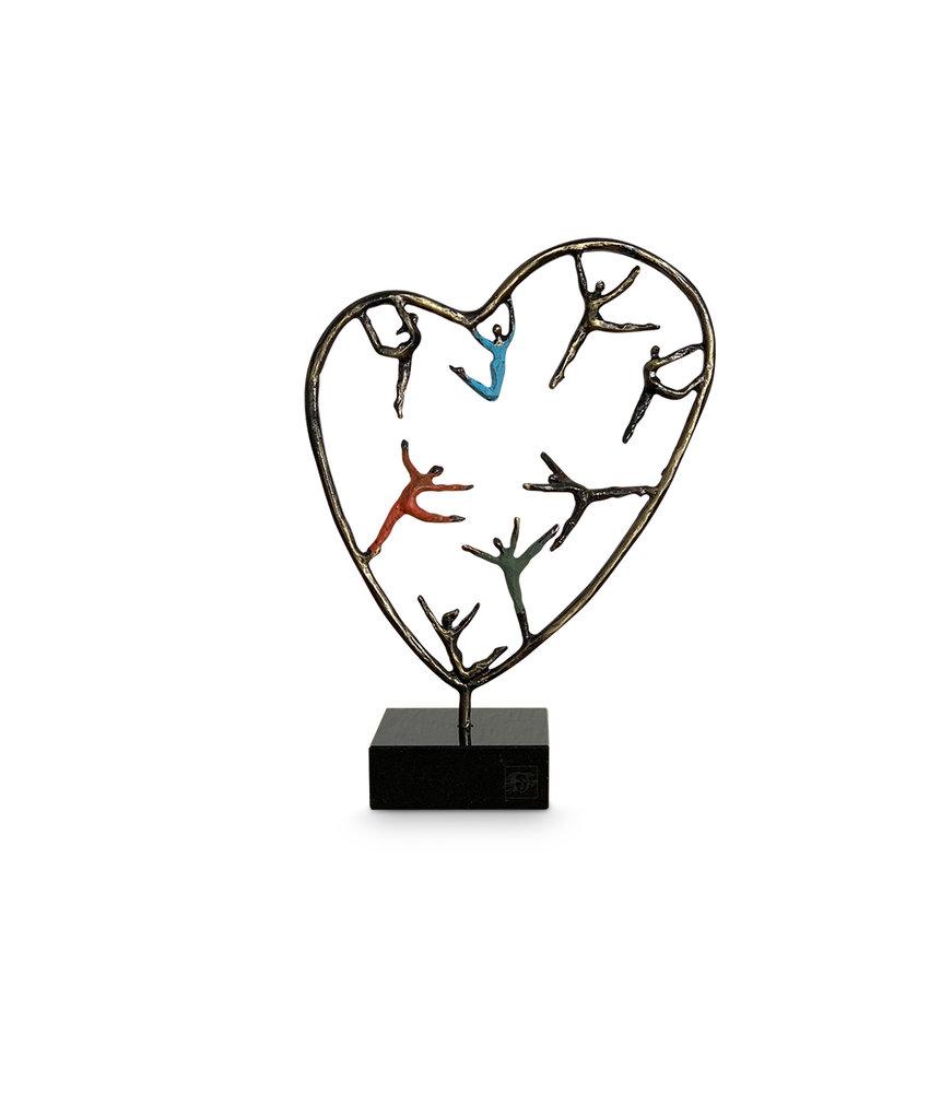 Mini urn hart asbeeldje hartenkinderen - brons