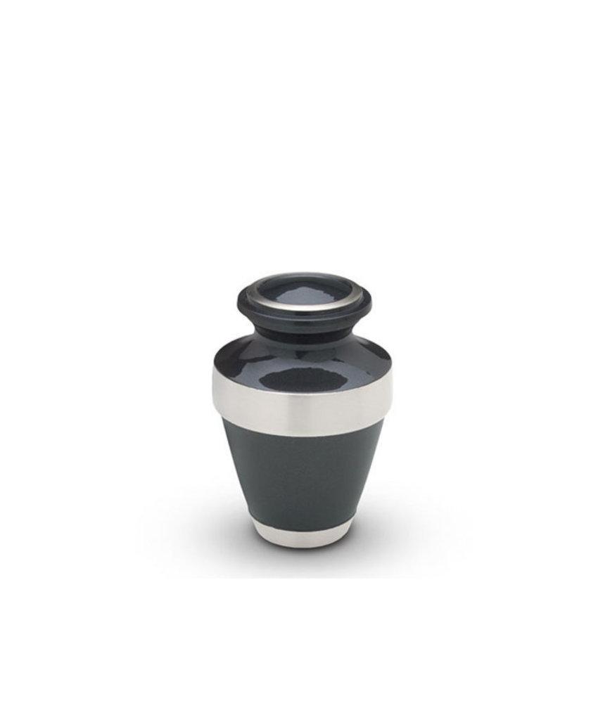 Kleine urn china grijs - messing