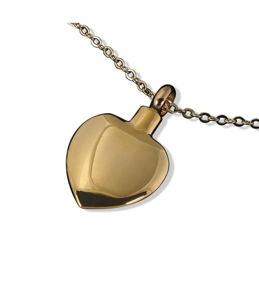 Ashanger hart medium goudkleurig - RVS
