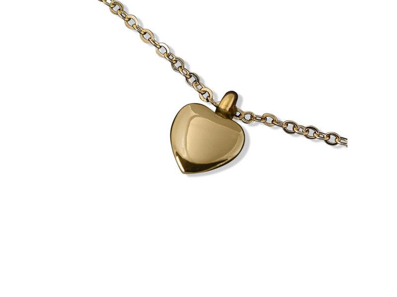 Ashanger hart klein goudkleurig - RVS