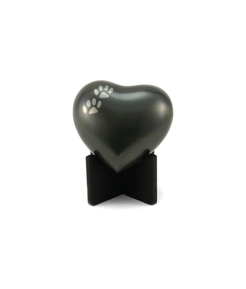 Dieren urn hart zwart met pootafdrukken - koper