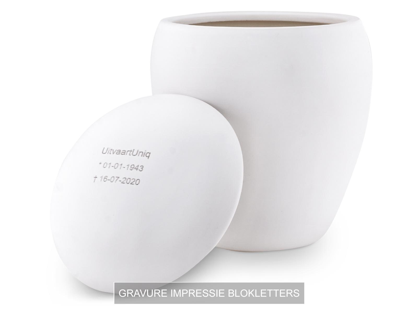 Mini bianco roos urn met lichtje - Keramiek
