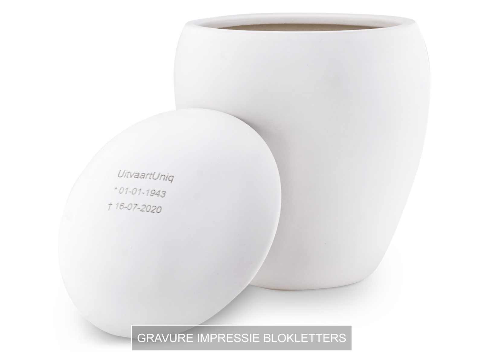 Mini asbus urn minion wit met herdenkingslichtje - keramiek