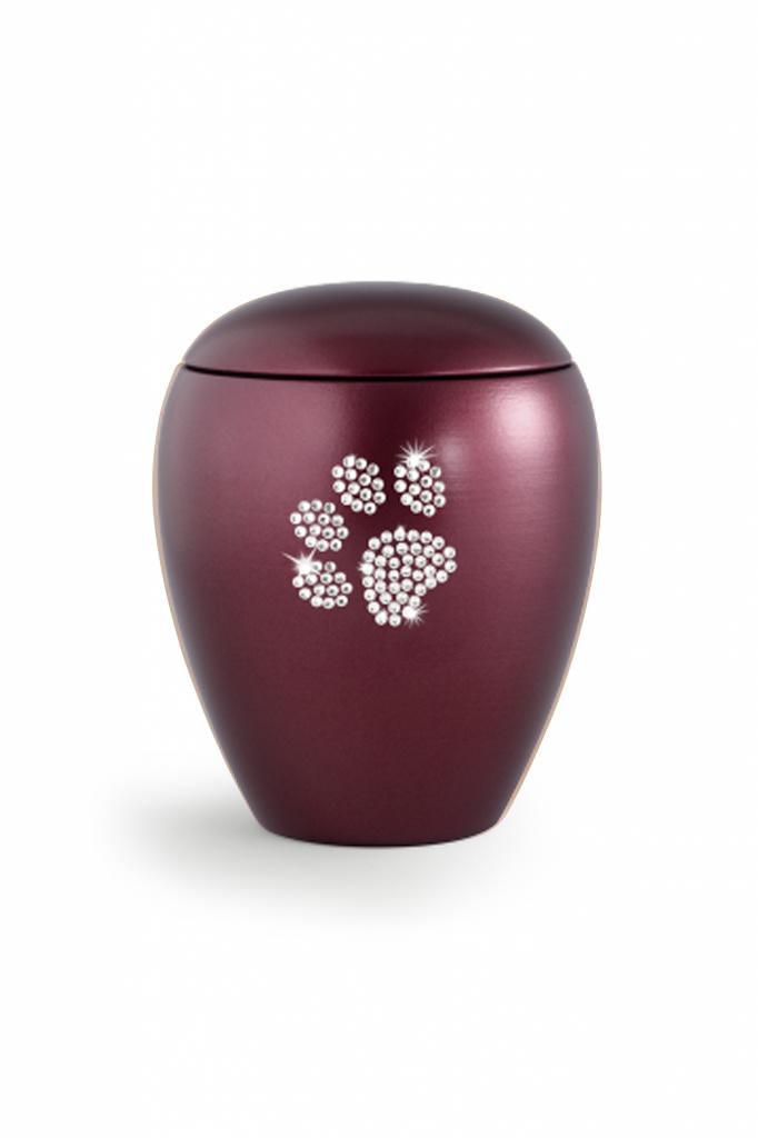 Dierenurn wijnrood met swarovski pootafdruk middel - keramiek