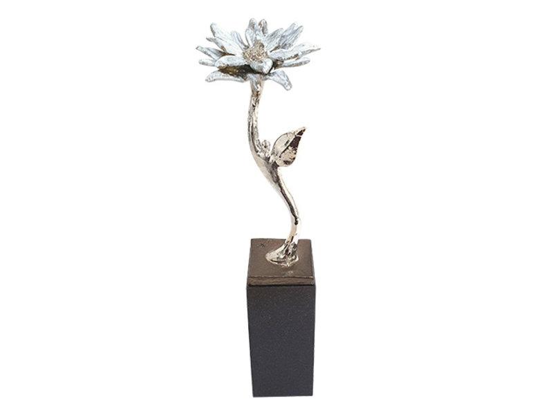 Mini urn asbeeldje bloem voor altijd - verzilverd