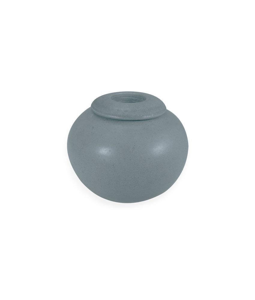 SALE - Keramische urn bol klein met kaarsje - zoutblauw