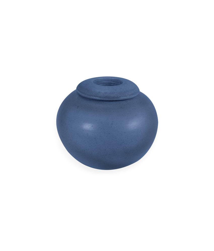 SALE - Keramische urn bol klein met kaarsje - cobalt