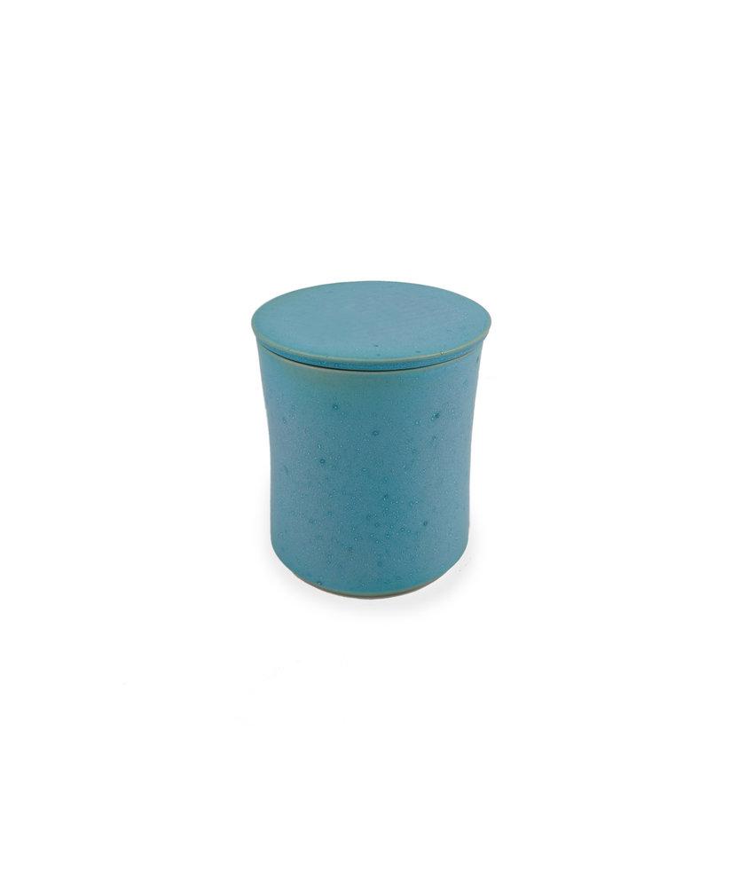 SALE - Keramische urn getailleerd klein turquoise