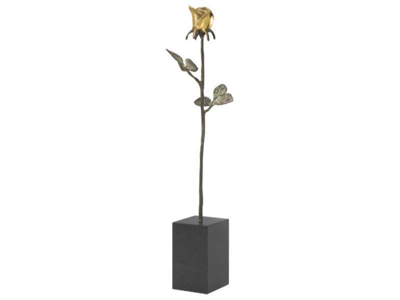 Mini urn asbeeldje gouden roos - brons