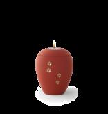 Dieren urn rood met lichtje en gouden pootafdrukken klein - keramiek