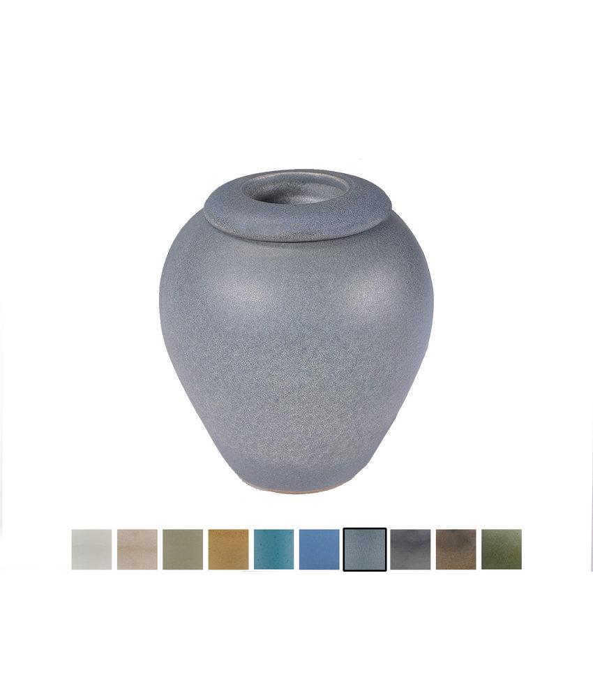 Keramische urn elegant klein met kaarsje - Zoutblauw - SALE