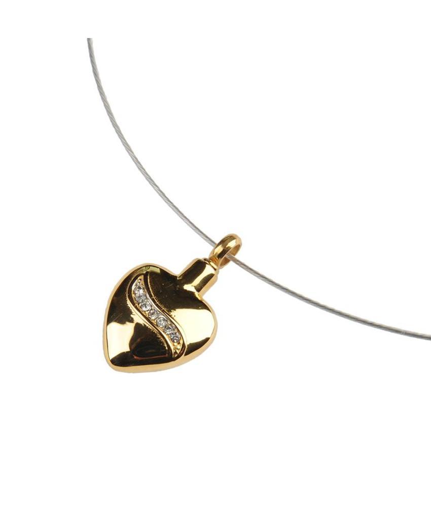 Ashanger goudkleurig hart met kristal inleg - RVS