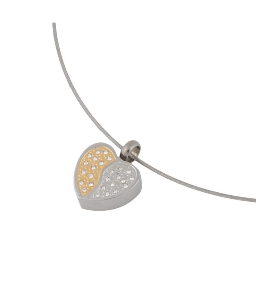Ashanger hart met kristal goud-zilver kleurig - RVS
