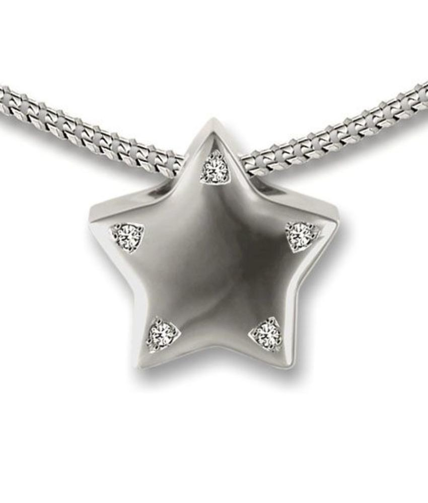 Ashanger puntige ster - 925 Sterling zilver met zirkonia