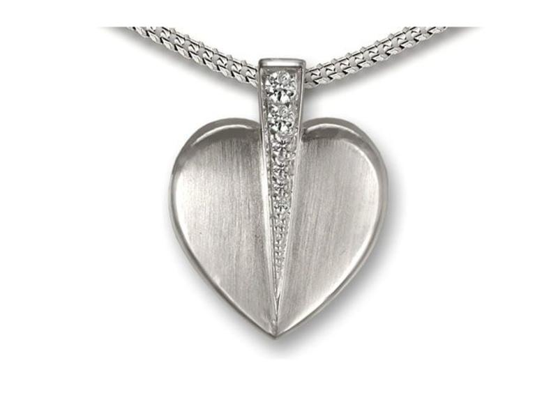 Ashanger doorkliefd hart - 925 Sterling zilver met zirkonia