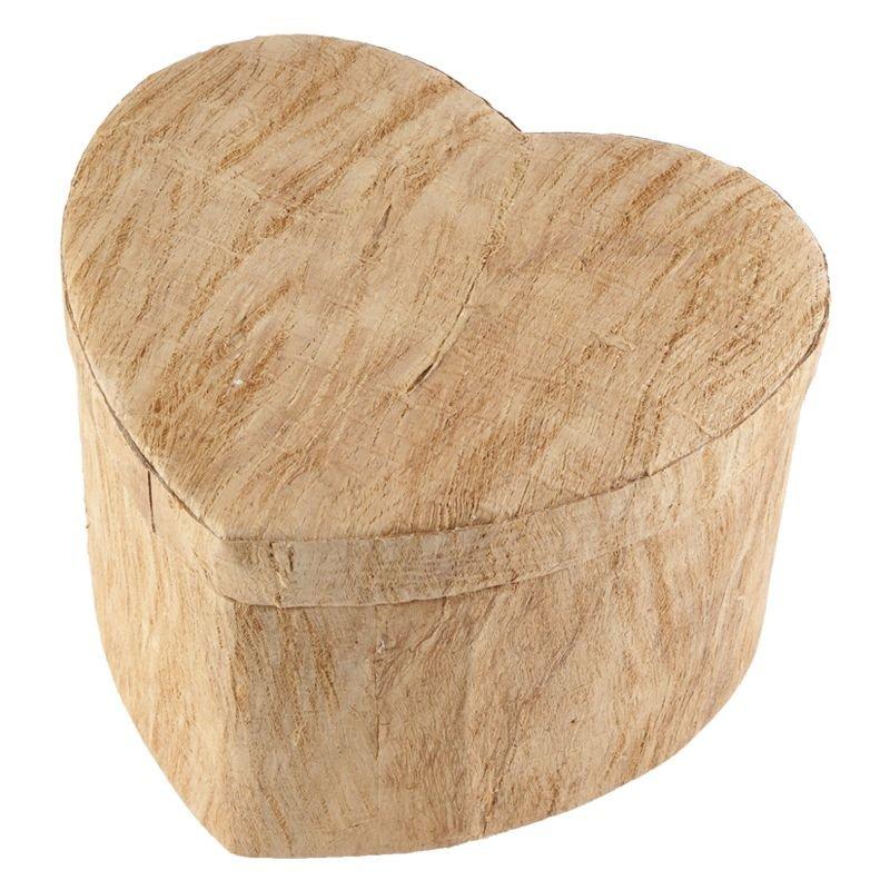 Hart urn earth met houtmotief groot - BIO
