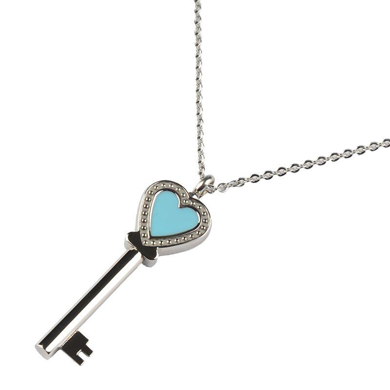 Ashanger sleutel hart blauw - RVS