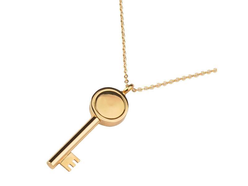 Ashanger sleutel goudkleurig - RVS