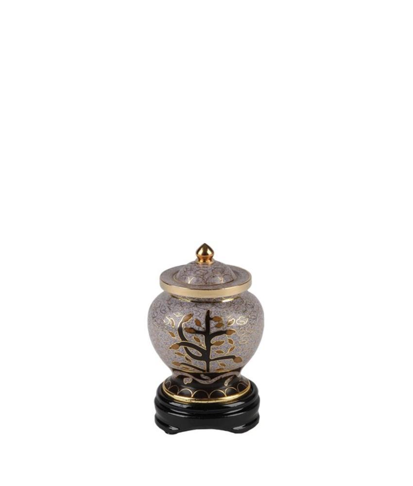 Mini urn levensboom op rozenhouten voetstuk - Cloisonne