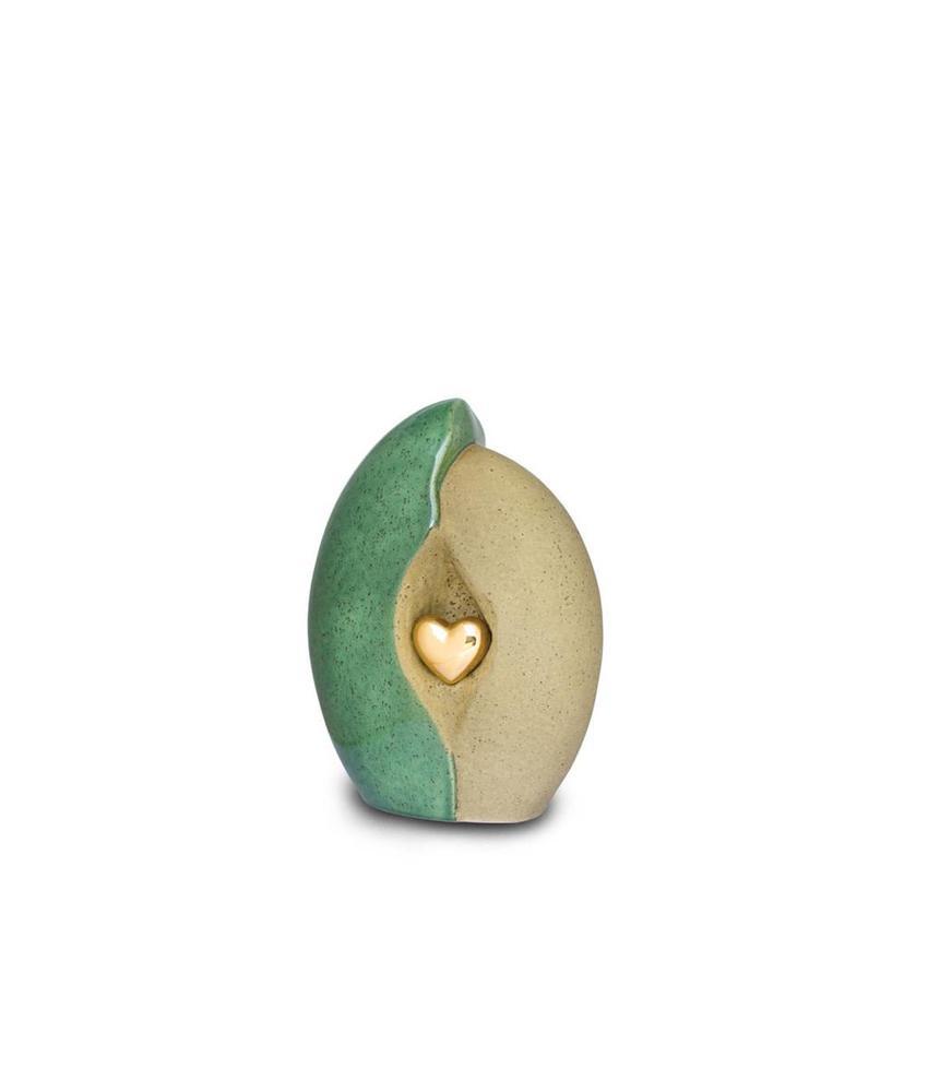 Geborgenheid hart groen klein - keramiek