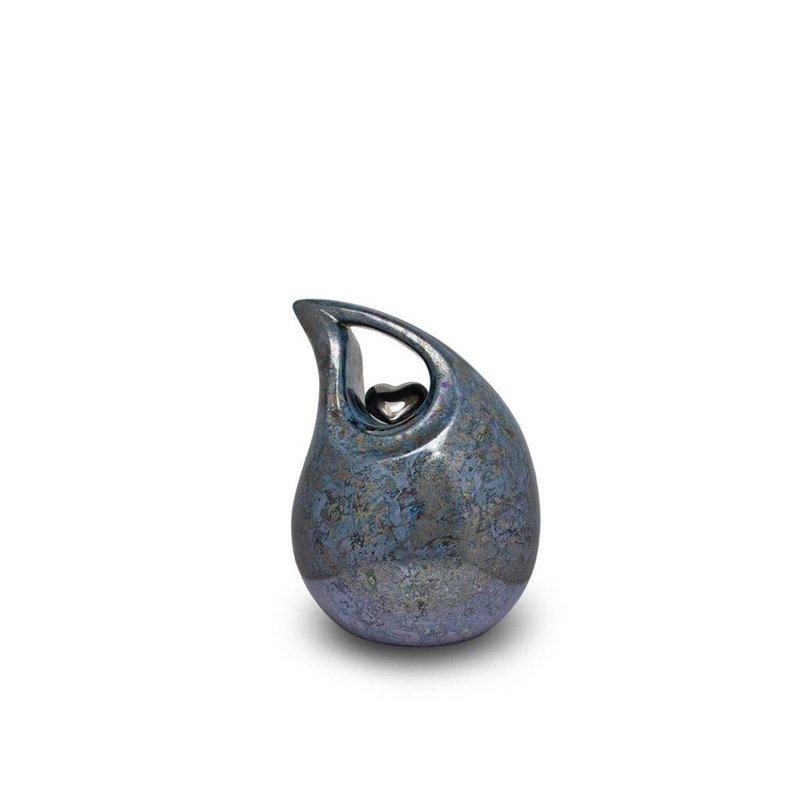 Berusting hart blauw grijs paarlemoer klein - keramiek