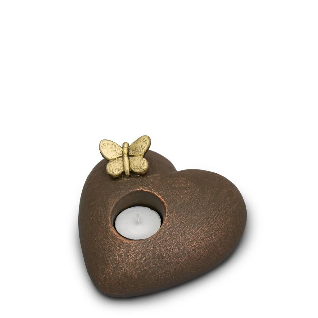 Mini urn hart verlichte tederheid - keramiek