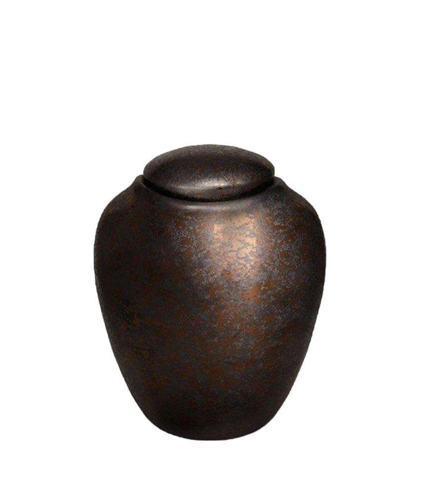 Milo zwart met zilver urn groot - keramiek