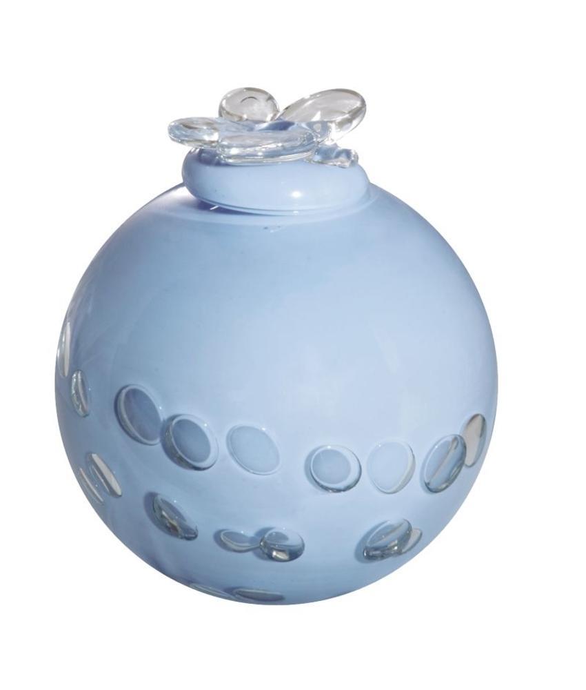 Blauwe vogel urn - glas