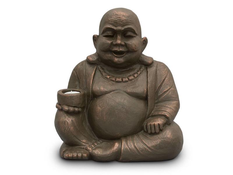 Boeddha duo urn D met licht - keramiek