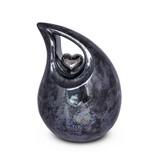 Berusting hart blauw grijs paarlemoer medium - keramiek