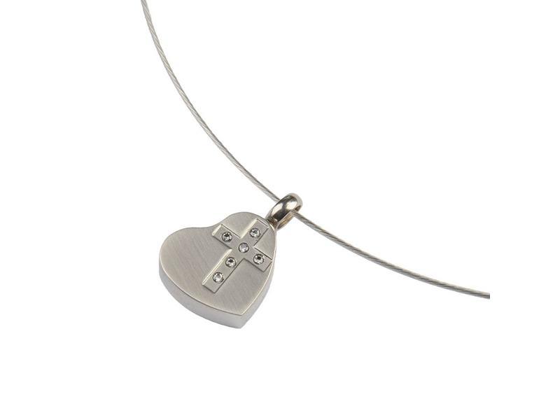 Ashanger hart met kruis - RVS