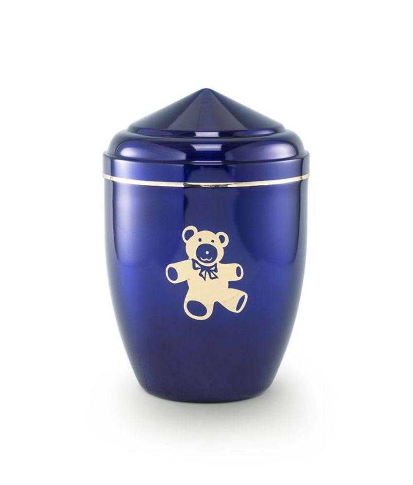 Kinder urn teddy blauw - staal