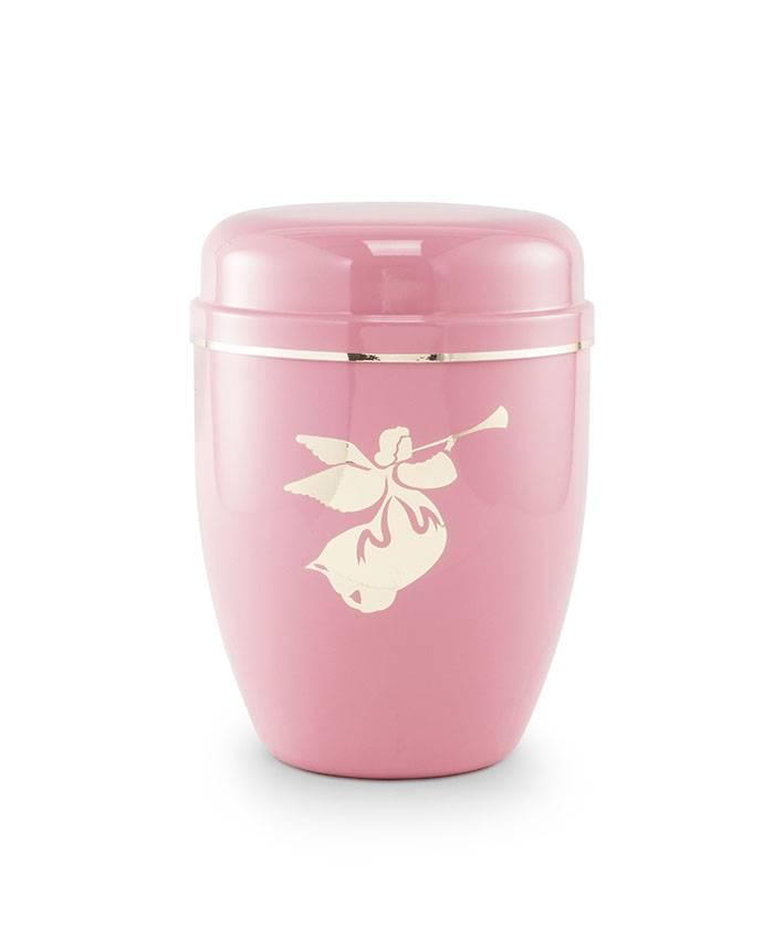 Kinder urn engel roze - staal'