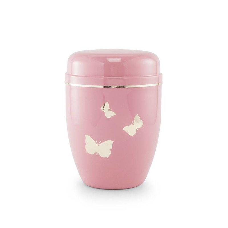 Kinder urn roze vlinders - staal