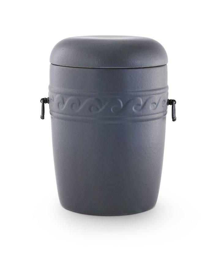 Klassieke kruik urn met handvaten en golven sierstrip - keramiek