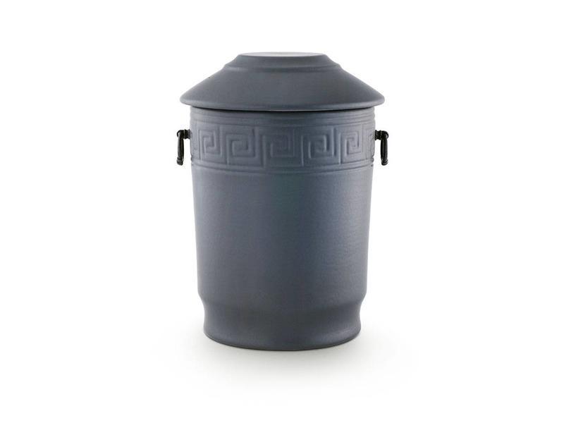 Klassieke kruik urn met handvaten en meander sierstrip - keramiek