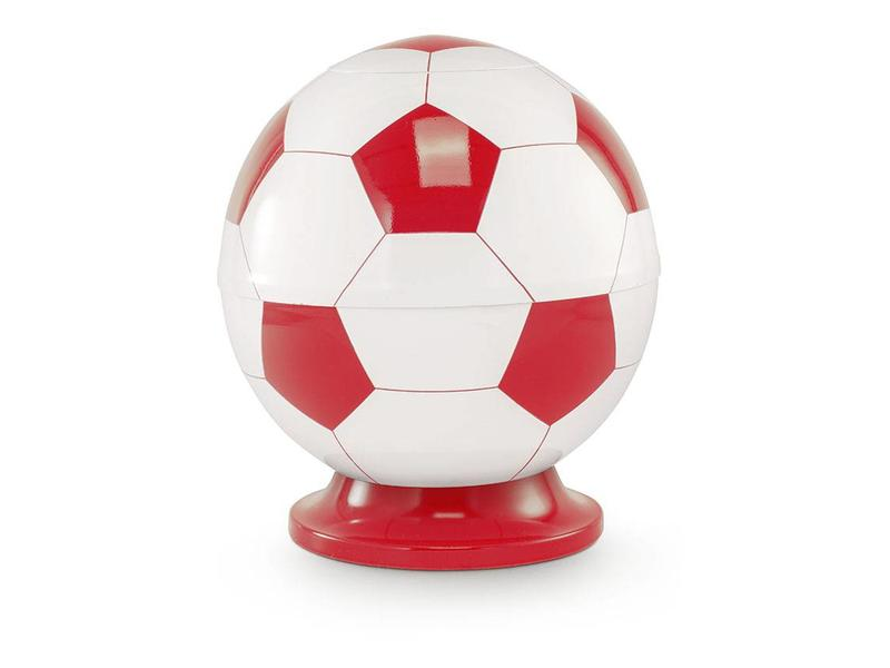 Kinder urn voetbal wit en rood - messing