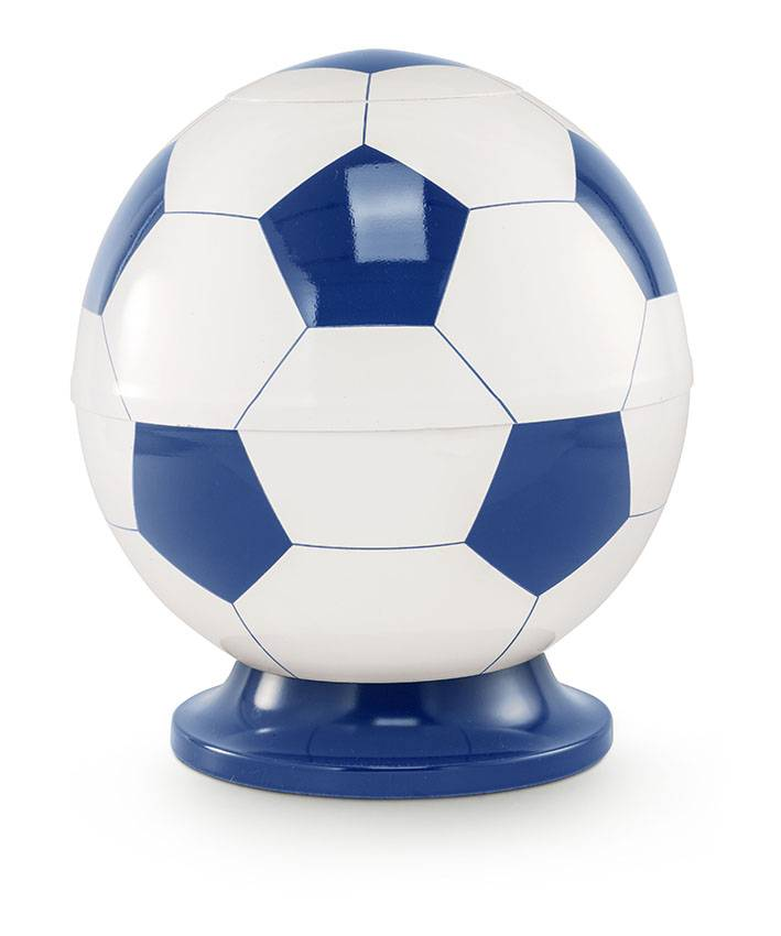 Kinder urn voetbal wit en blauw - messing