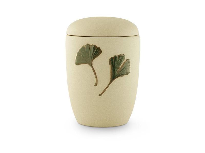 Neo klassiek asbus urn met ginkgo bladeren - keramiek