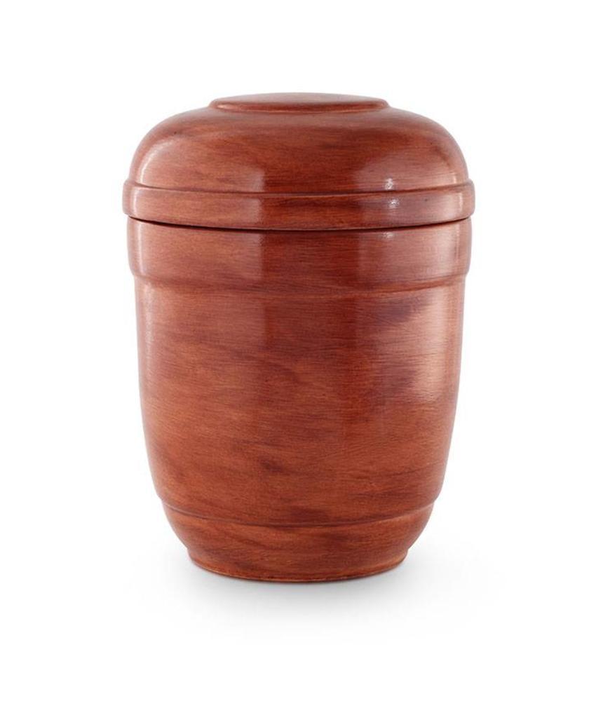 Rode asbus urn houtlook - keramiek